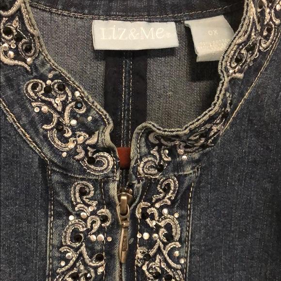 Liz & Me Embellished Denim Jacket with Zipper